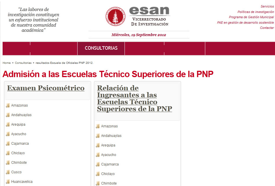 Resultados ETS PNP 2012 Ingresantes Admision 16 de Setiembre